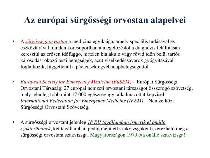Az európai sürgősségi orvostan alapelvei