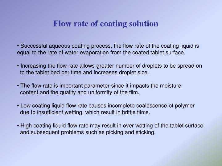 Flow rate of coating solution