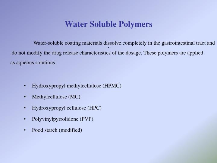 Water Soluble Polymers