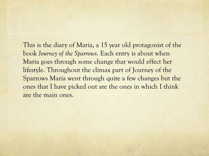 This is the diary of Maria, a 15 year old protagonist of the book