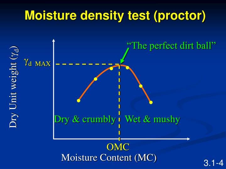Moisture density test (proctor)