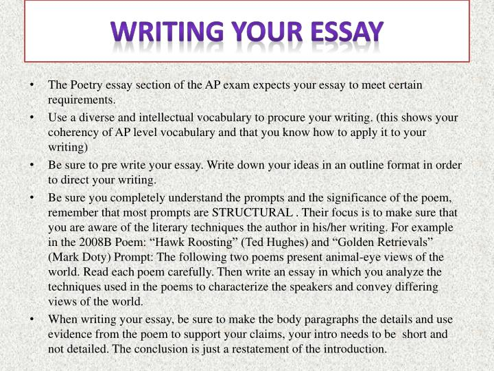Writing your essay