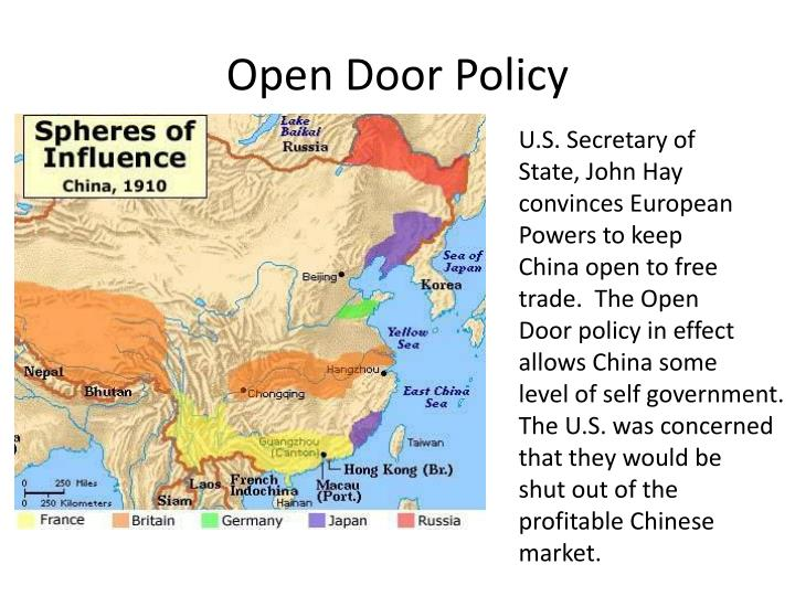 the objectives and impact of the us open door policy The open door policy is a term in foreign affairs initially used to refer to the united states policy established in the late 19th century and the early 20th century.