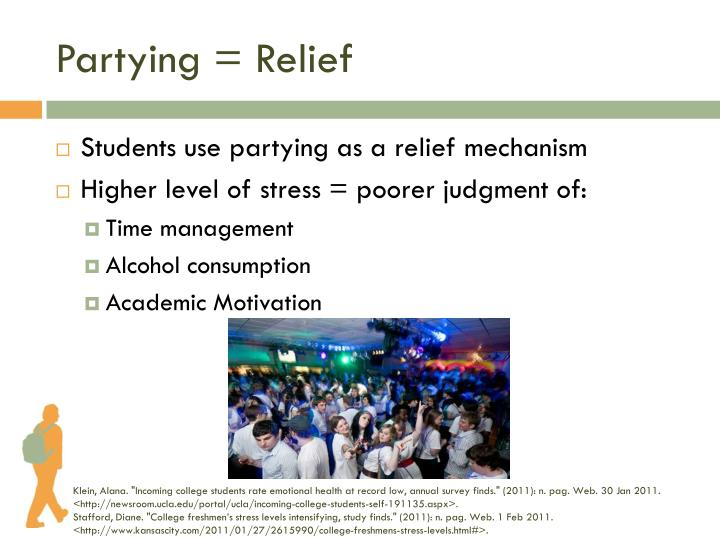 Partying = Relief