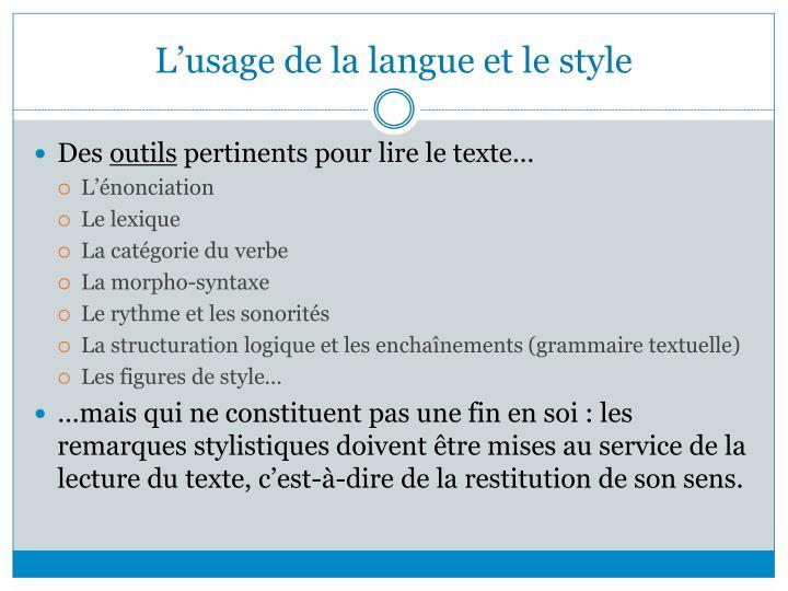 L'usage de la langue et le style