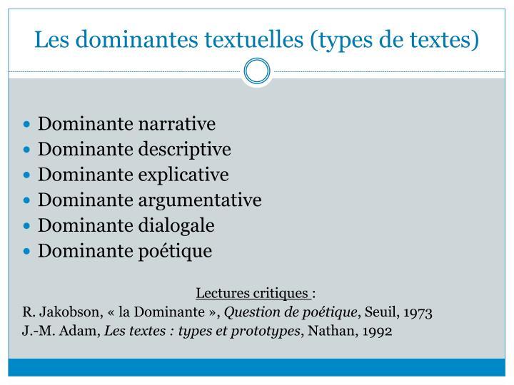 Les dominantes textuelles (types de textes)