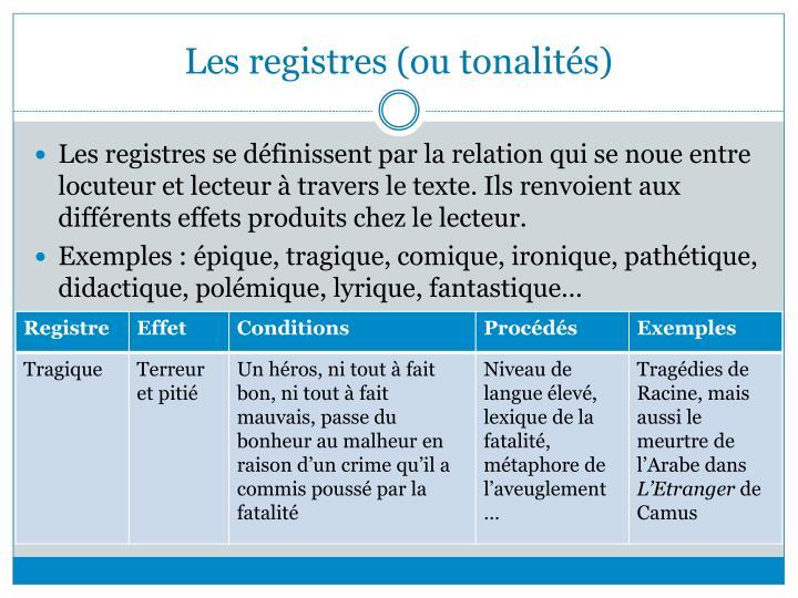 Les registres (ou tonalités)