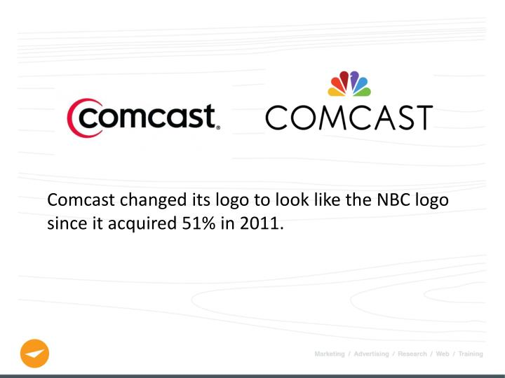 Comcast changed its logo to look like the NBC logo since it acquired 51% in 2011.