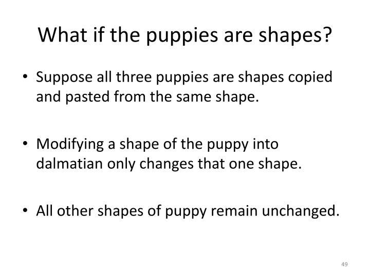 What if the puppies are shapes?