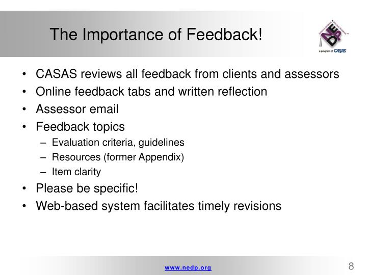 The Importance of Feedback!