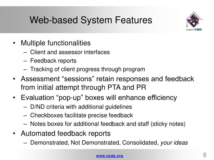 Web-based System Features