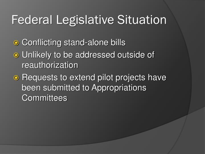 Federal Legislative Situation