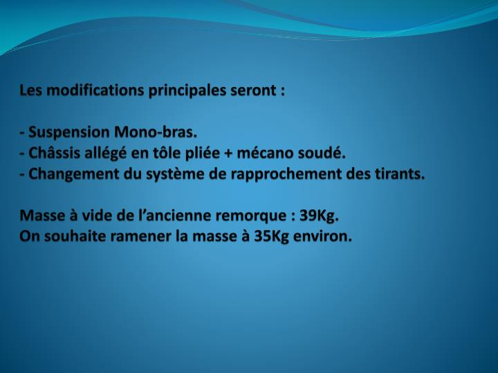 Les modifications principales seront :