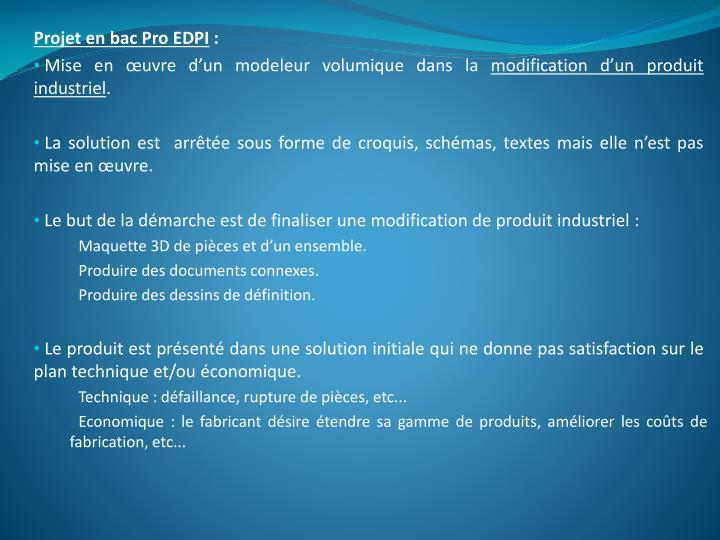 Projet en bac Pro EDPI