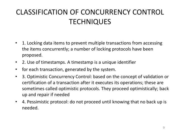 CLASSIFICATION OF CONCURRENCY CONTROL TECHNIQUES