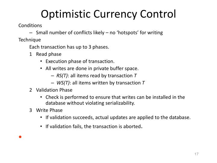 Optimistic Currency Control