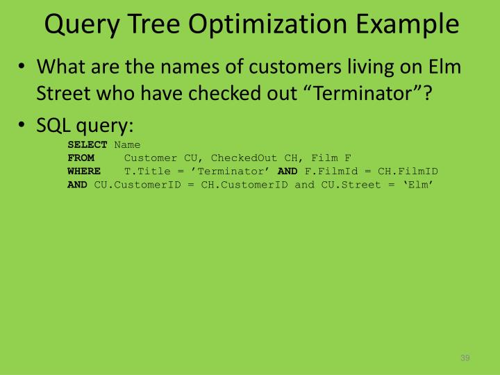 Query Tree Optimization Example