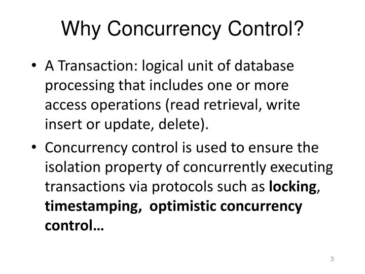 Why concurrency control