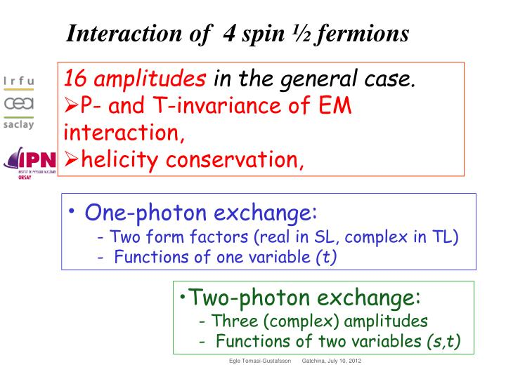 Interaction of  4 spin ½ fermions