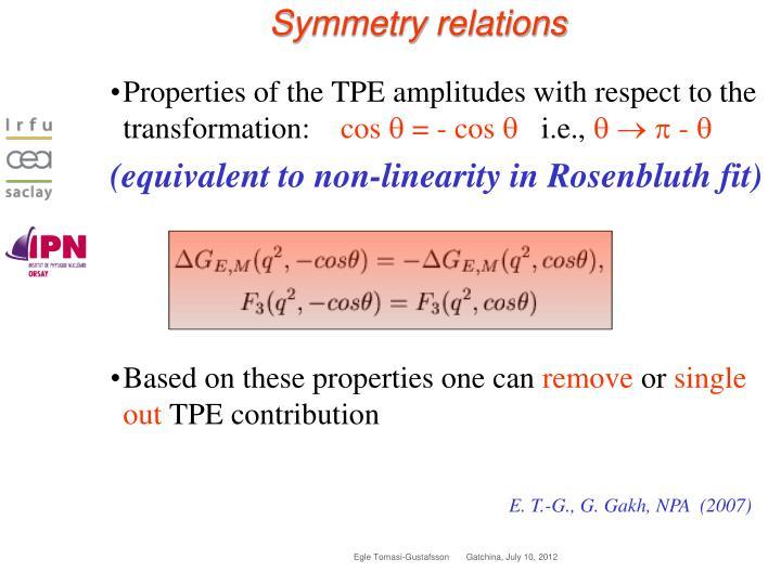 Symmetry relations