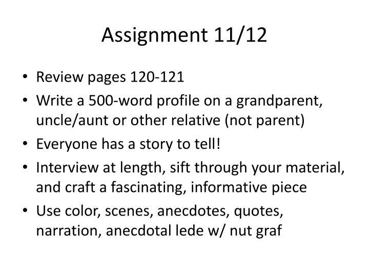 Assignment 11/12