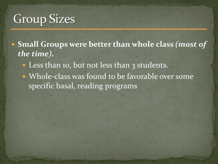 Group Sizes