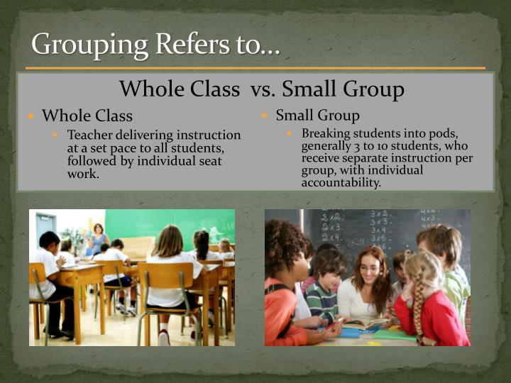 Grouping Refers to…
