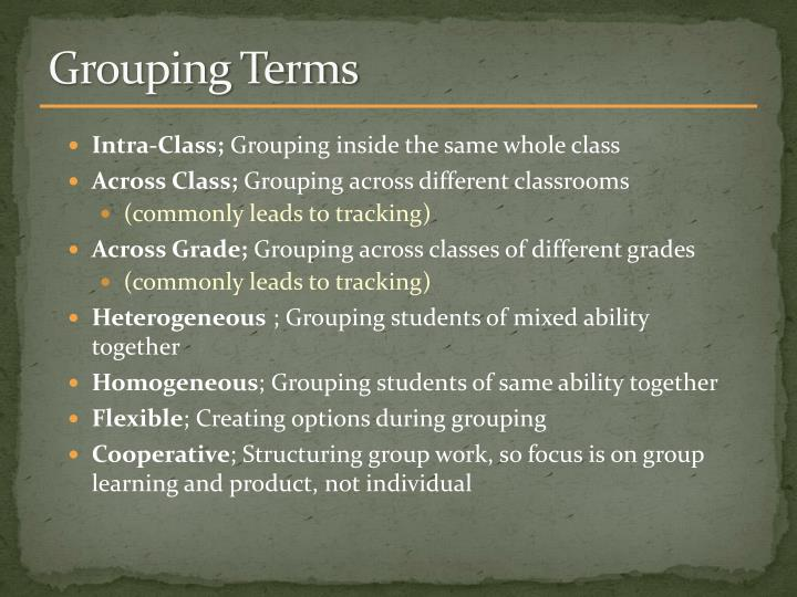Grouping Terms