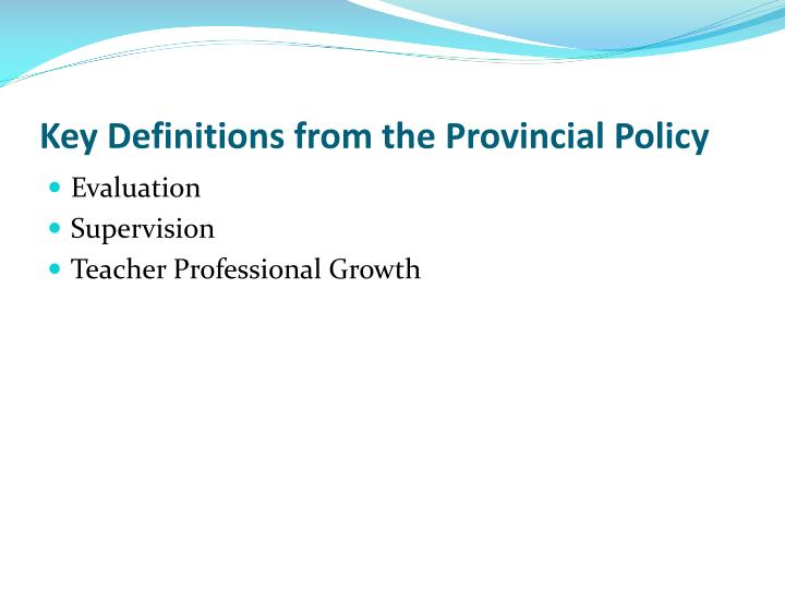 Key Definitions from the Provincial Policy