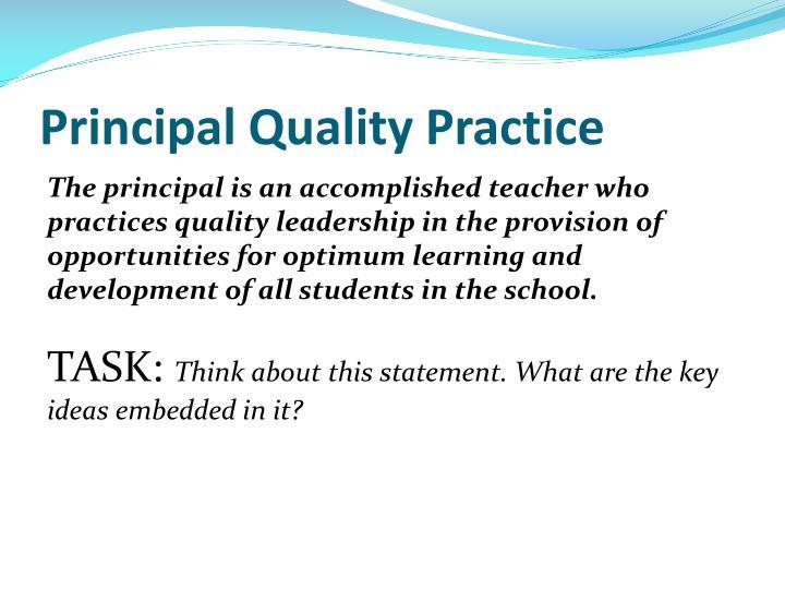 Principal Quality Practice