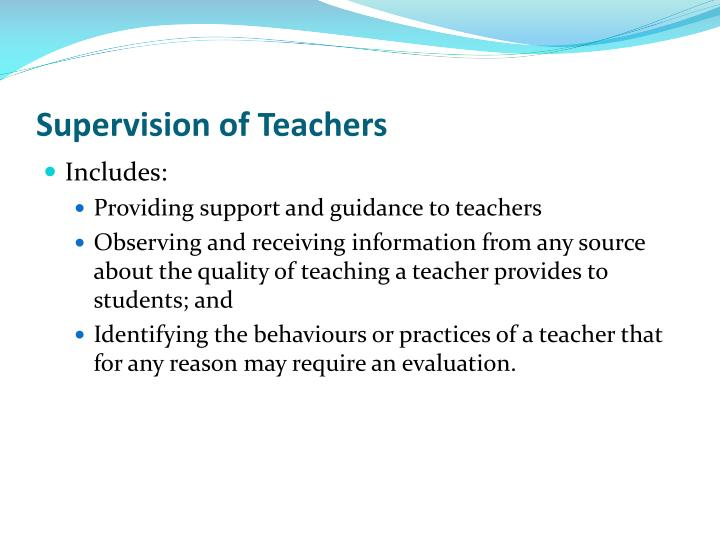 Supervision of Teachers