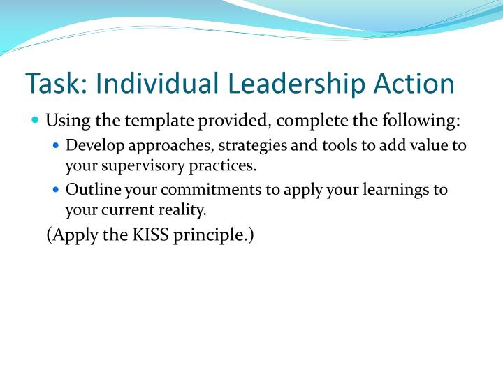 Task: Individual Leadership Action