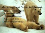avoiding heat stress in hazmat