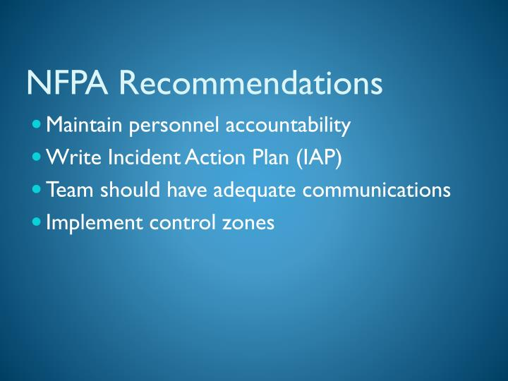 NFPA Recommendations