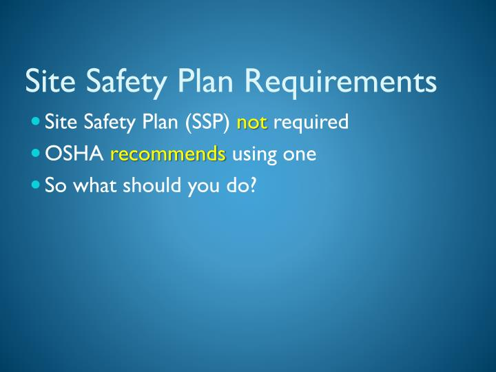 Site Safety Plan Requirements