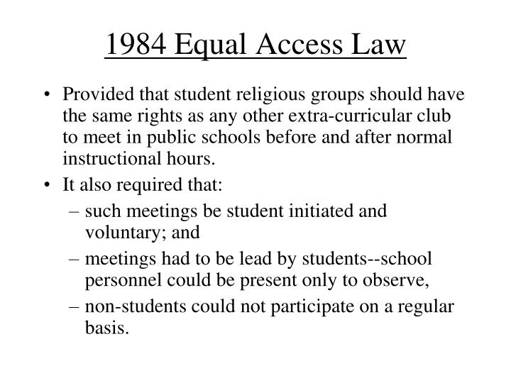 1984 Equal Access Law