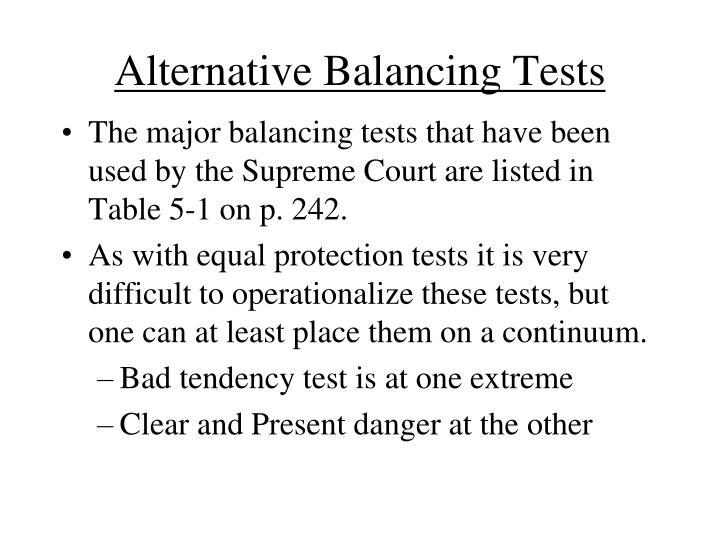 Alternative Balancing Tests