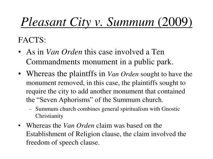 Pleasant City v. Summum
