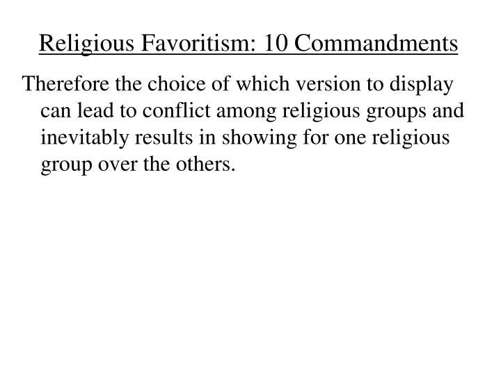 Religious Favoritism: 10 Commandments