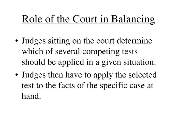 Role of the Court in Balancing