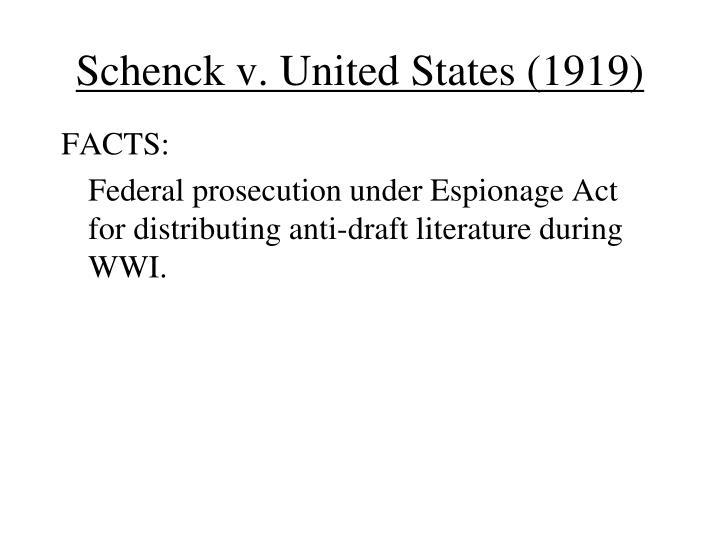 Schenck v. United States (1919)
