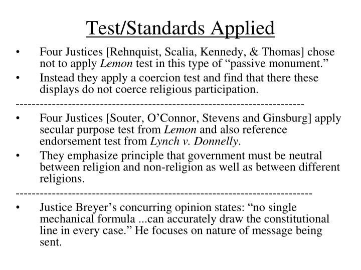 Test/Standards Applied