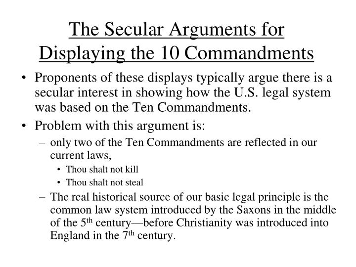 The Secular Arguments for Displaying the 10 Commandments