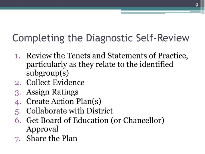 Completing the Diagnostic Self-Review