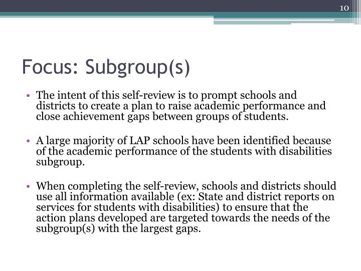 Focus: Subgroup(s)