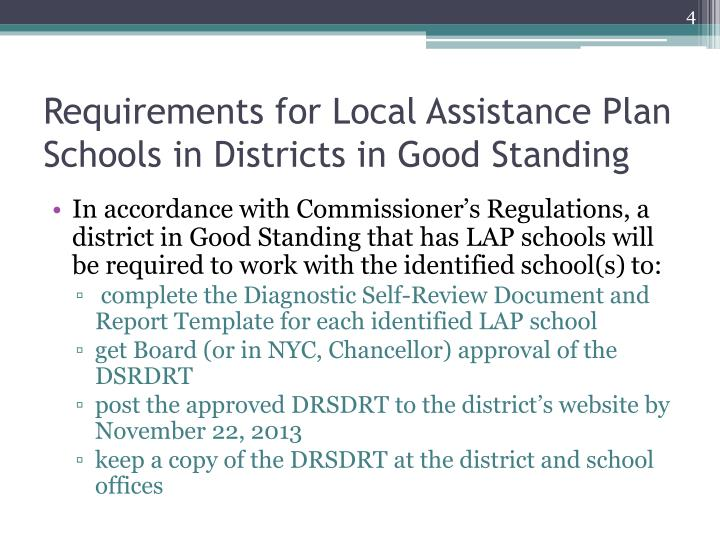 Requirements for Local Assistance Plan Schools in Districts in Good Standing