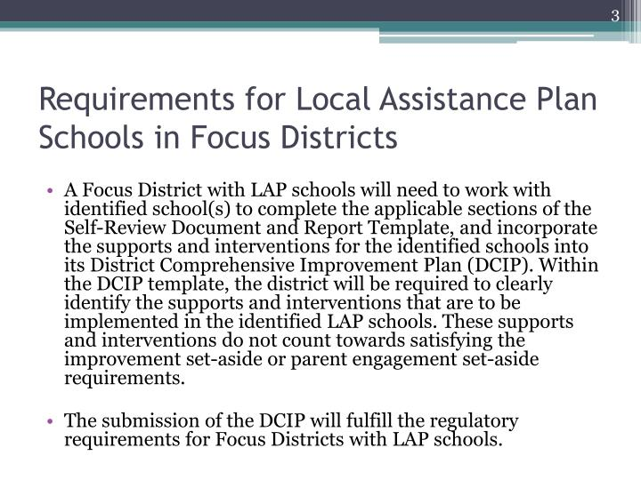 Requirements for local assistance plan schools in focus districts