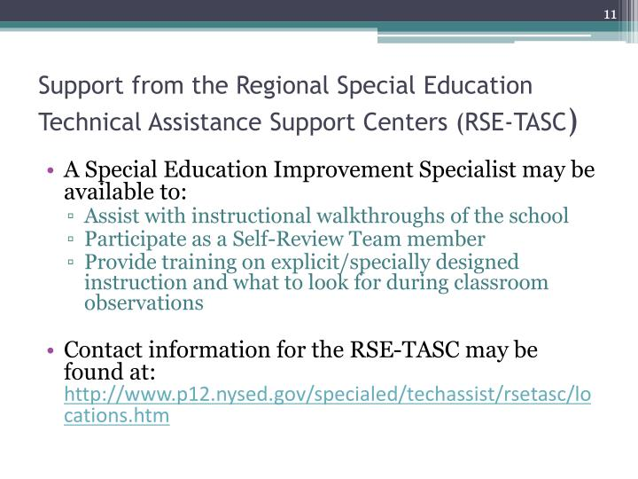 Support from the Regional Special Education Technical Assistance Support Centers (RSE-TASC