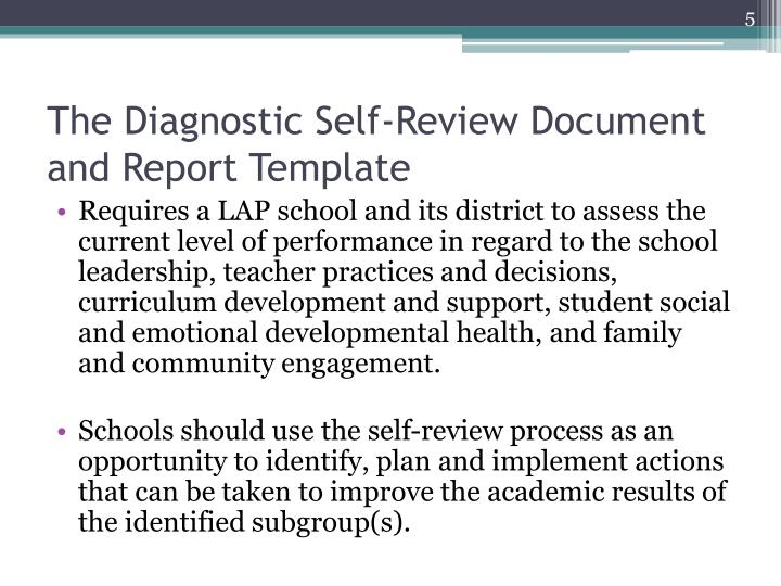 The Diagnostic Self-Review Document and Report Template