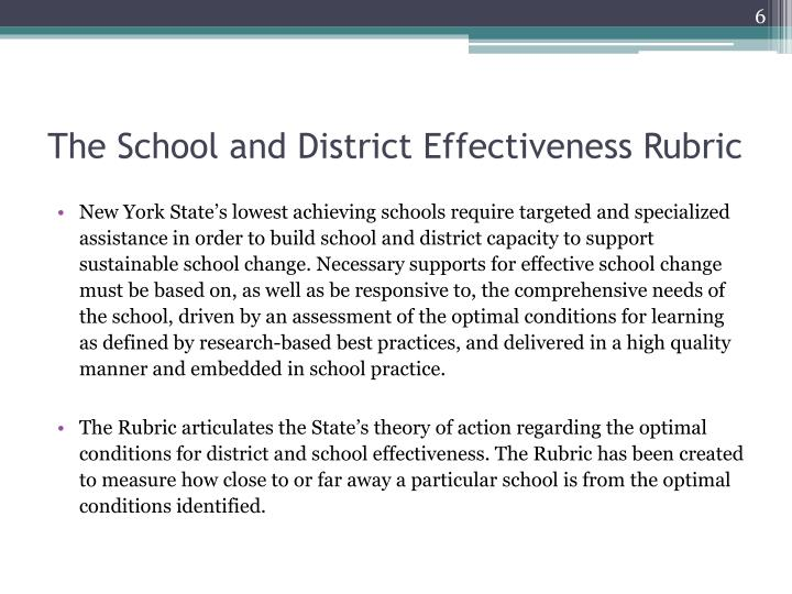 The School and District Effectiveness Rubric